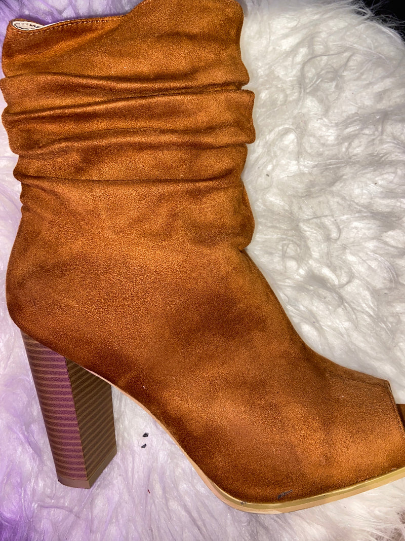 Tan Open Toe Bootie