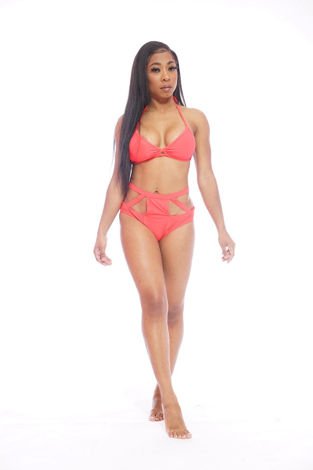Red Cutout Swimsuit Set