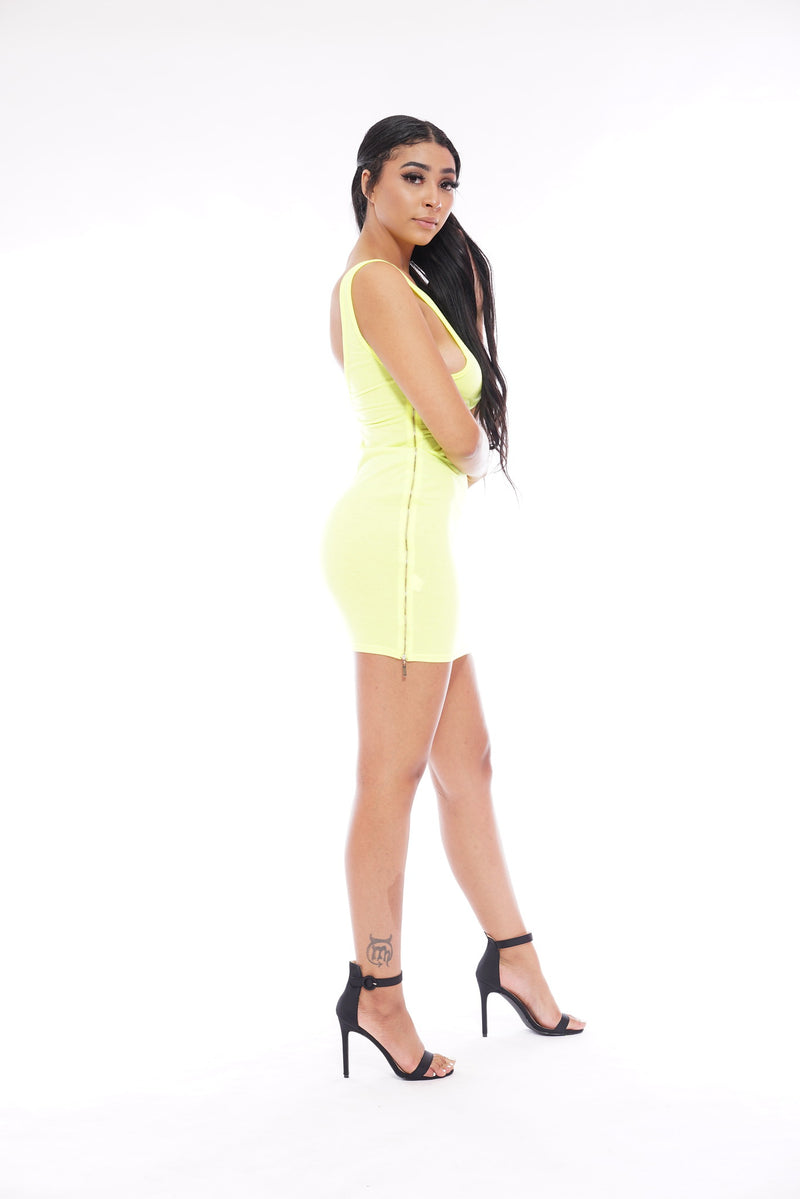 Neon Green Zipper Side Dress