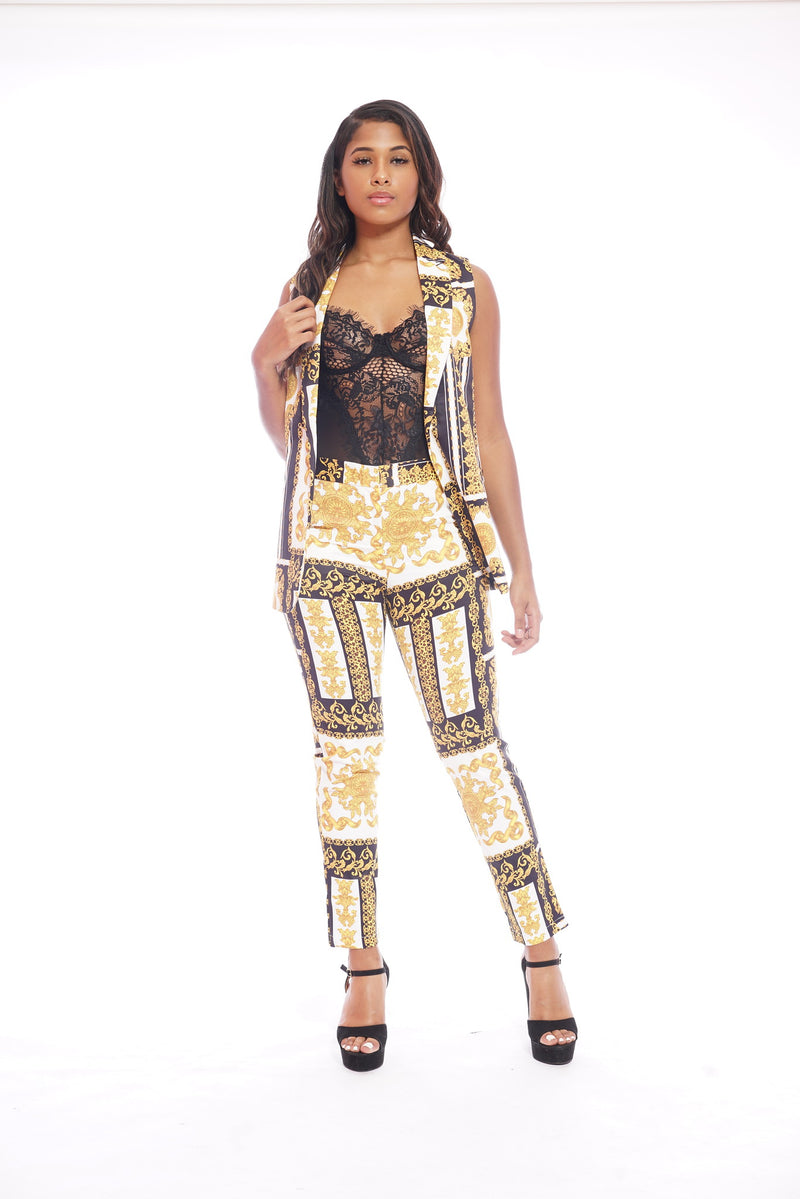 Black Gold Versace printed Suit Set