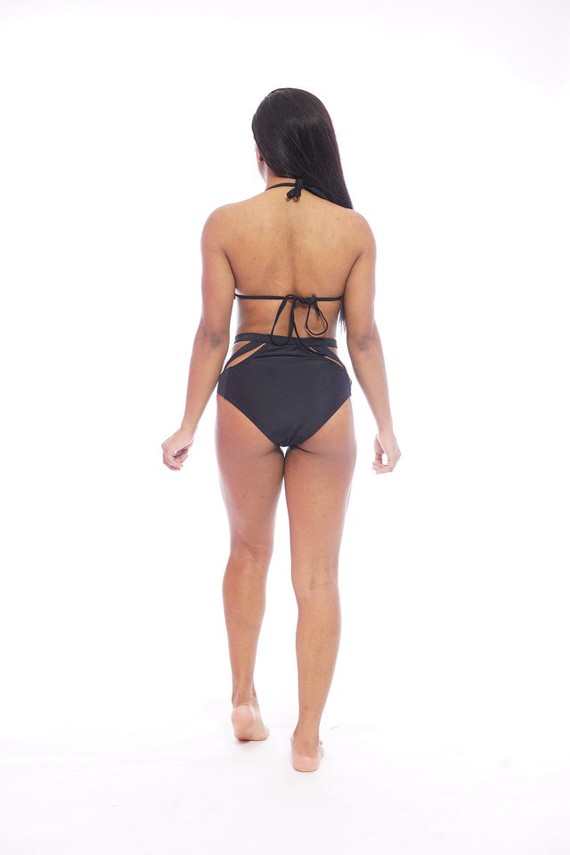 Black Cutout Swimsuit Set