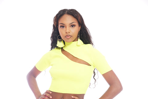 Neon Green pleated Tie Front Top