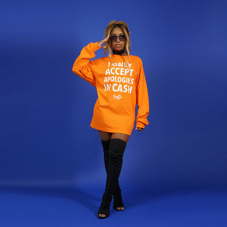 I only accept apologies in cash t-shirt dress Orange