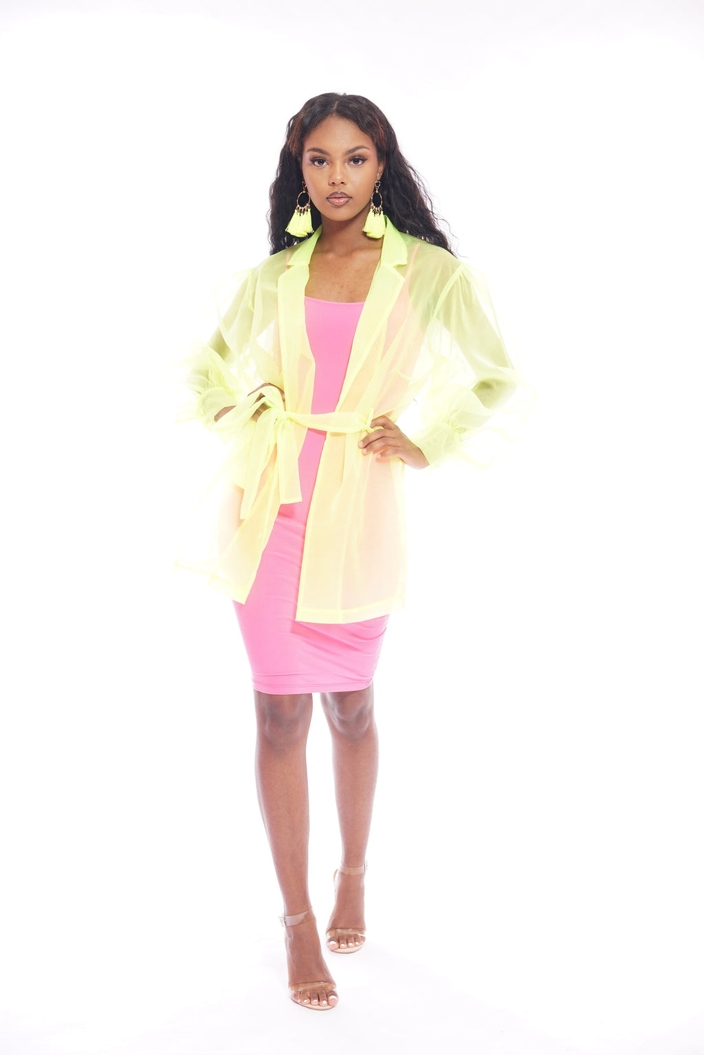 Neon Green Belted Mesh Jacket