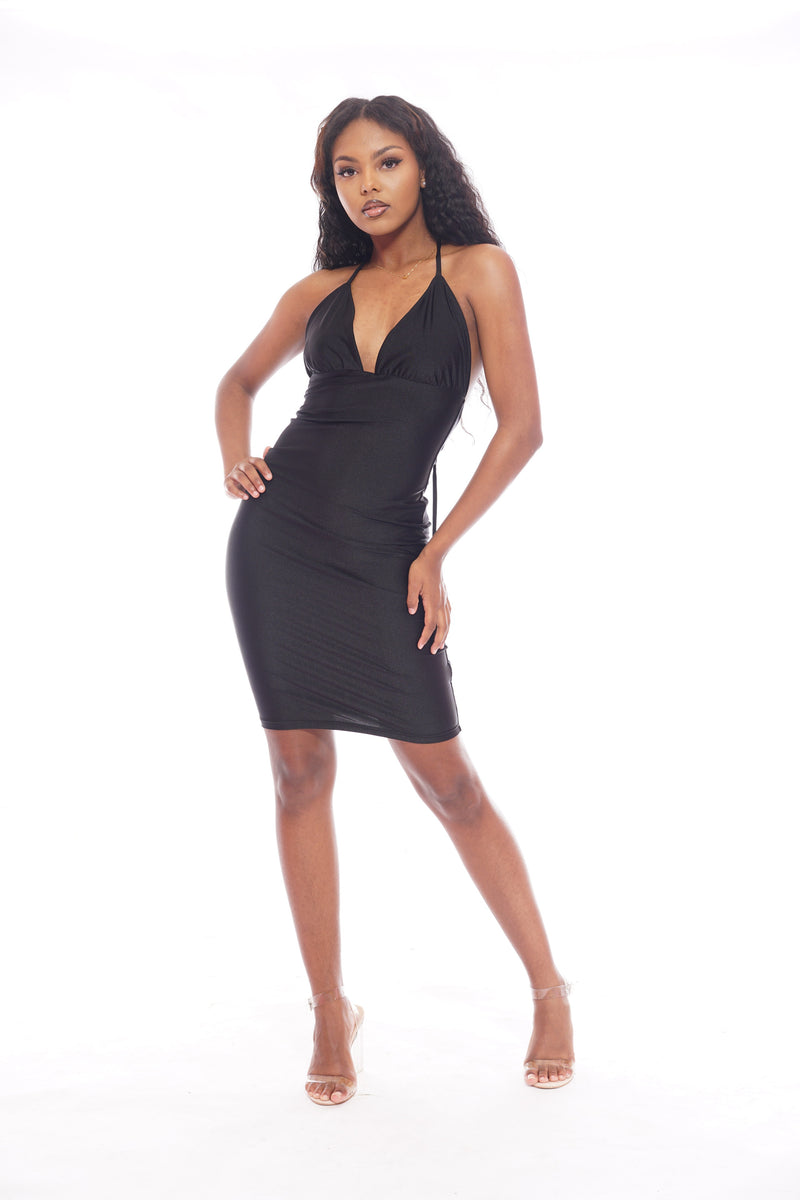 Black Silky Halter Dress