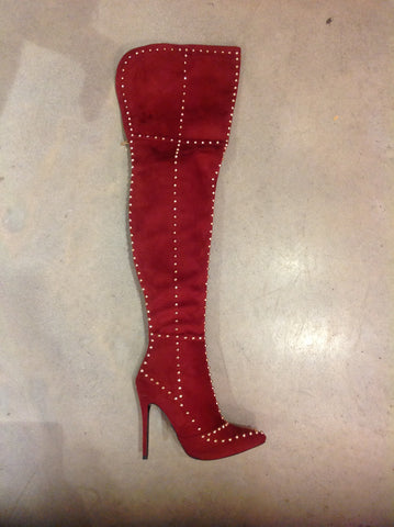 Red Close Toe Lace Up Bootie