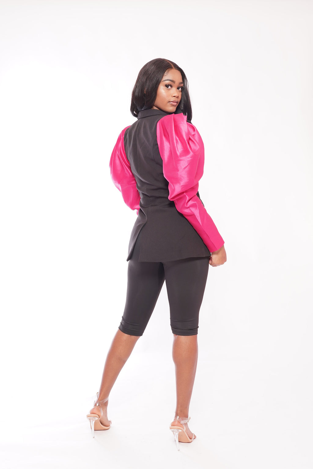 Black Blazer Pink Puff Sleeves