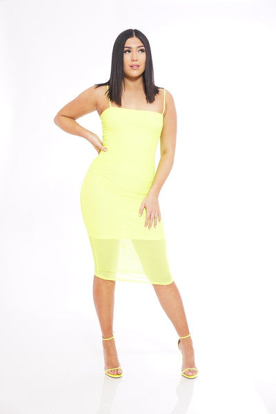 Neon Green Mesh Slip Dress