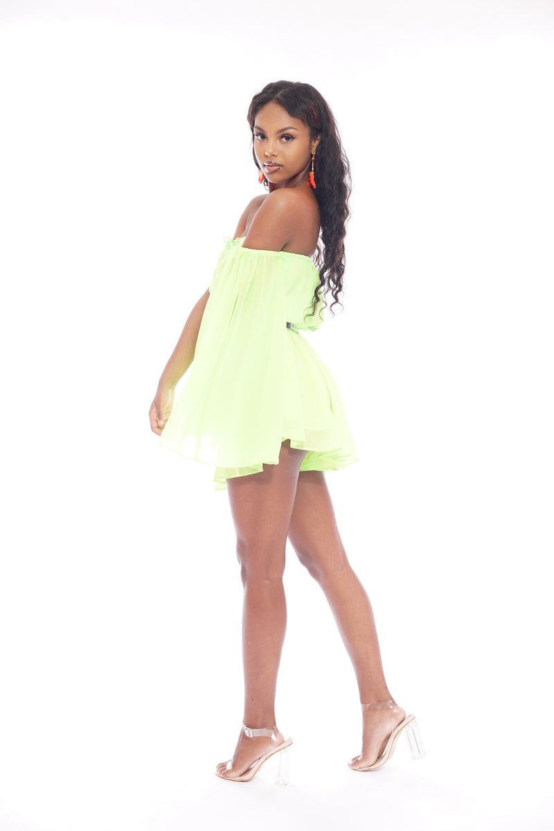 Neon Green Flowy Split Shorts Set