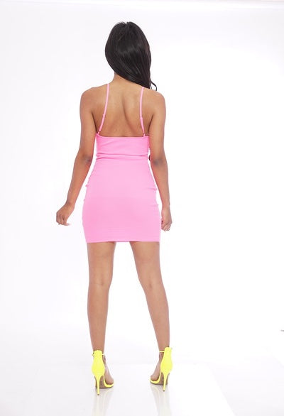 Basic Neon Pink Ribbed Dress