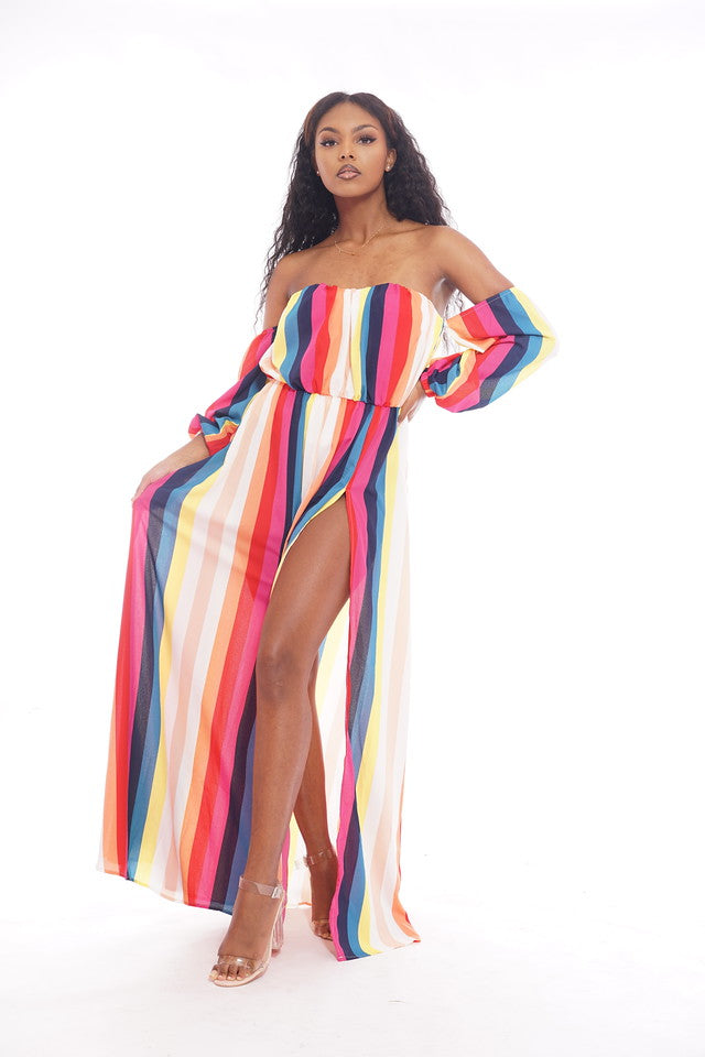 Rainbow Striped Thigh Split Dress