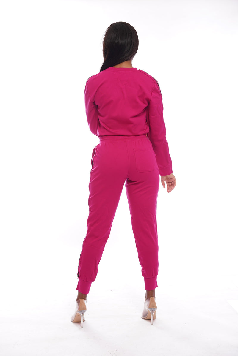 Hot Pink SweatSuit Zippers