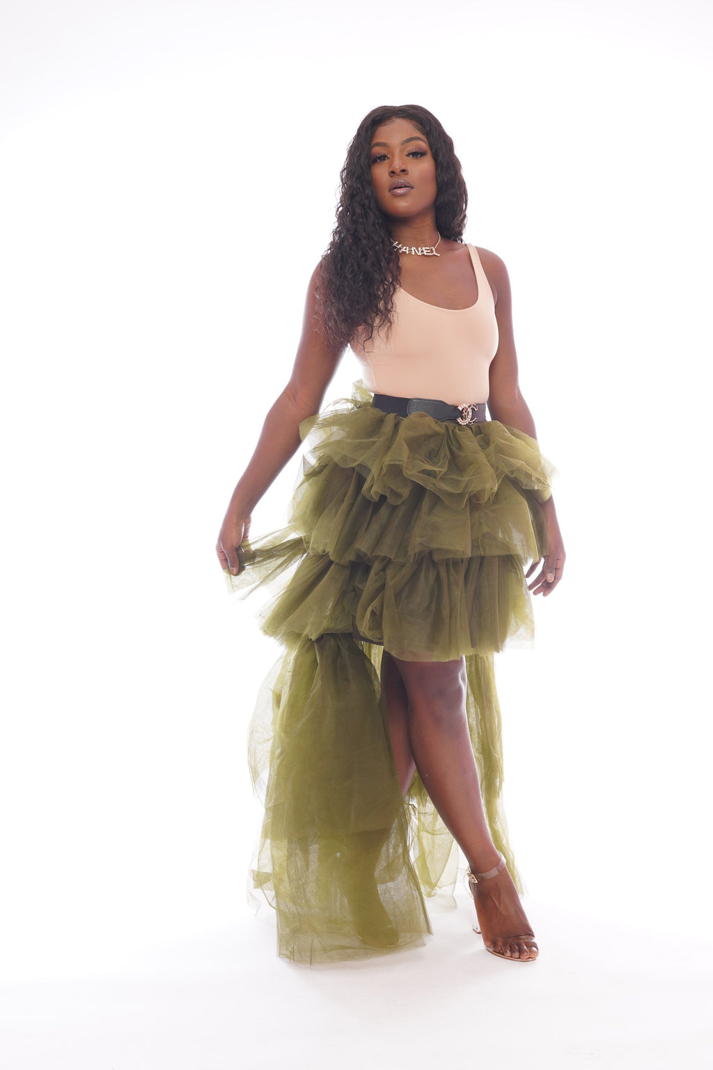 Green Mesh high low Skirt