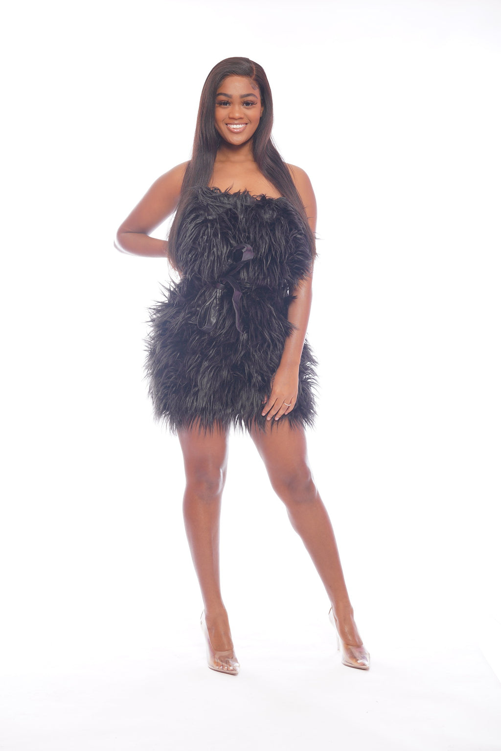 Black Faux Fur Dress