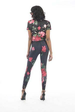 CUPCAKE MAFIA HEART FLORAL LEGGINGS