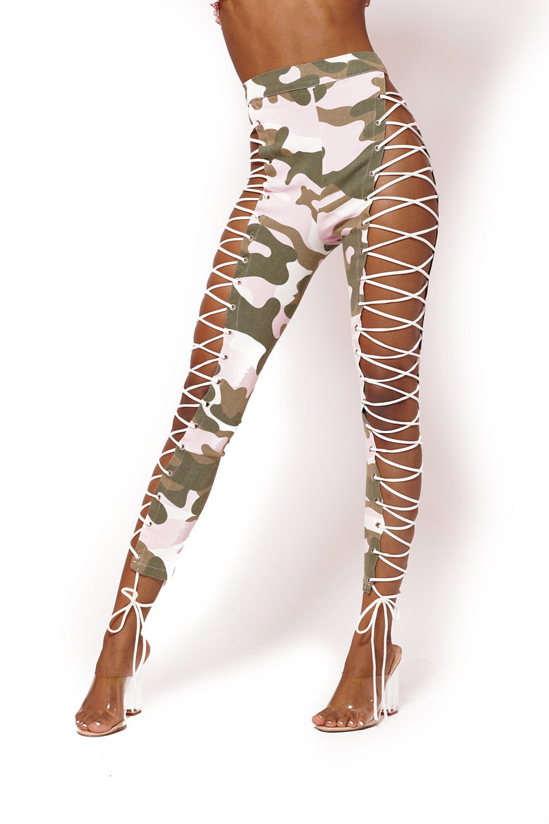 PINK CAMO LACE UP PANTS