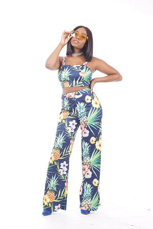 Tropical 2 Piece  Pant Set