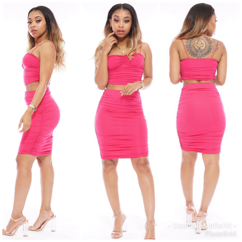 Hot Pink Skirt Set