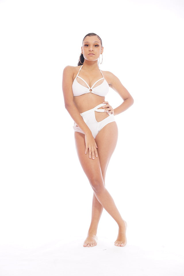 White Cutout Swimsuit Set