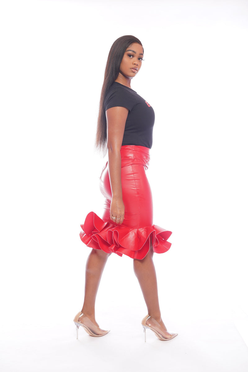 Red Leather Flower Skirt