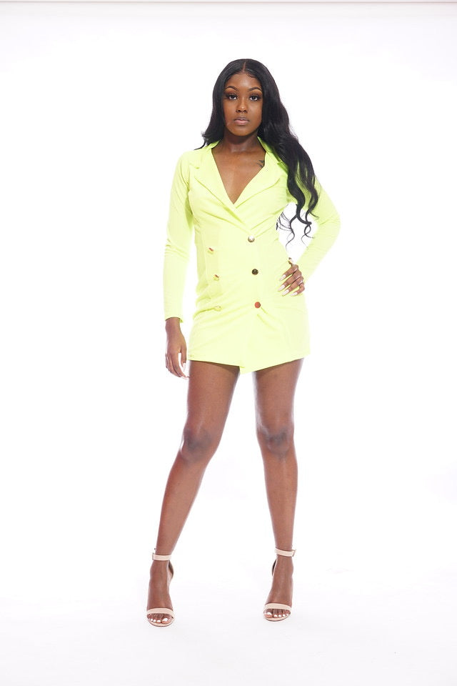 Lime Green Blazer Dress
