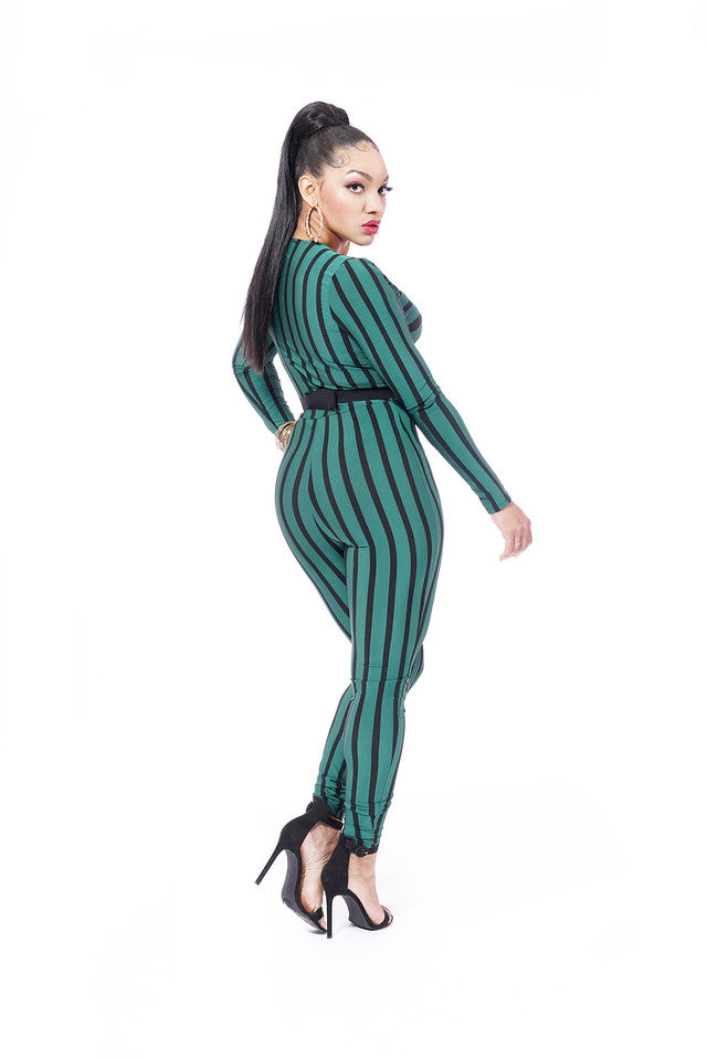 GREEN AND BLACK STRIPE JUMPSUIT