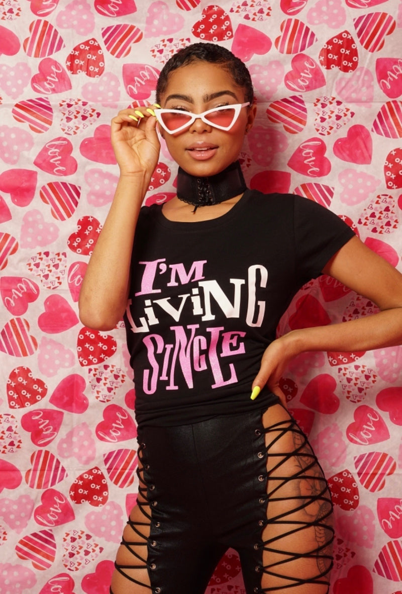 Living Single Tshirt (Black & Pink)