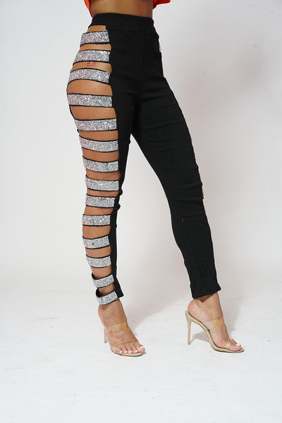 BLACK SPARKLE BAND OPEN EXPOSED PANTS