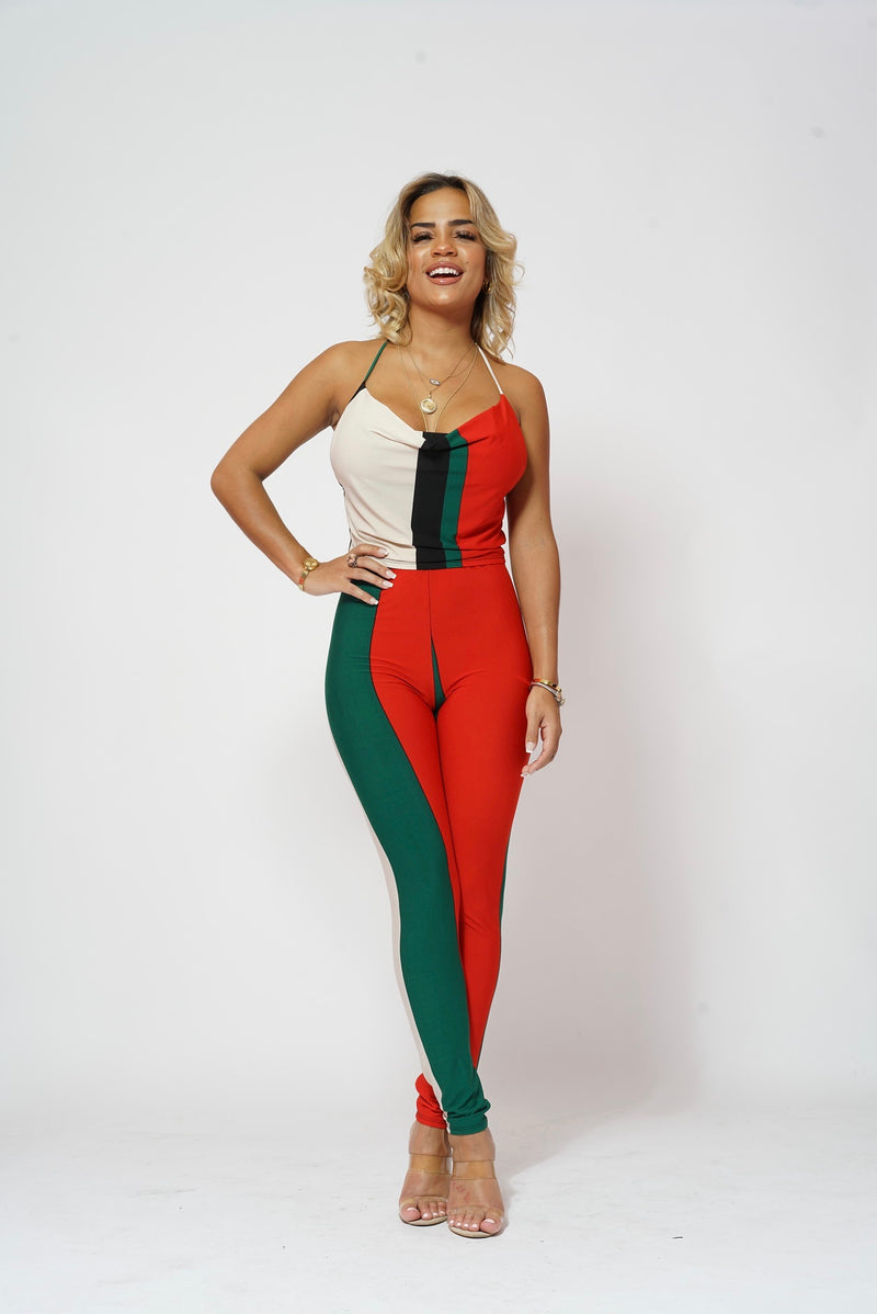 RED AND GREEN HALTER PANTS 2 PIECE SET