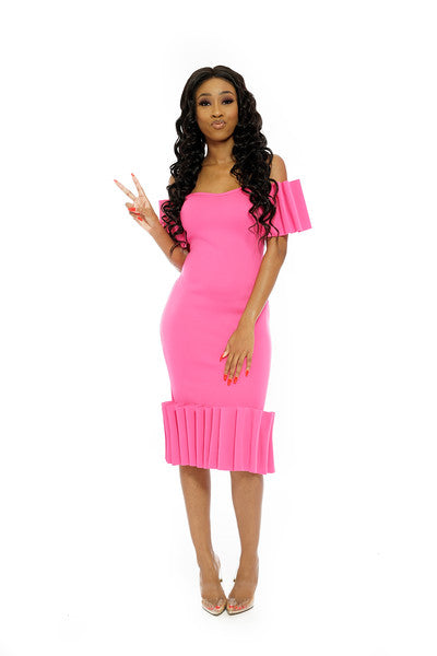 PINK PLEADED SLEEVE AND BOTTOM FITTED DRESS
