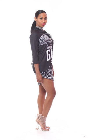 CM Girl Gang Black  Hockey Jersey Dress