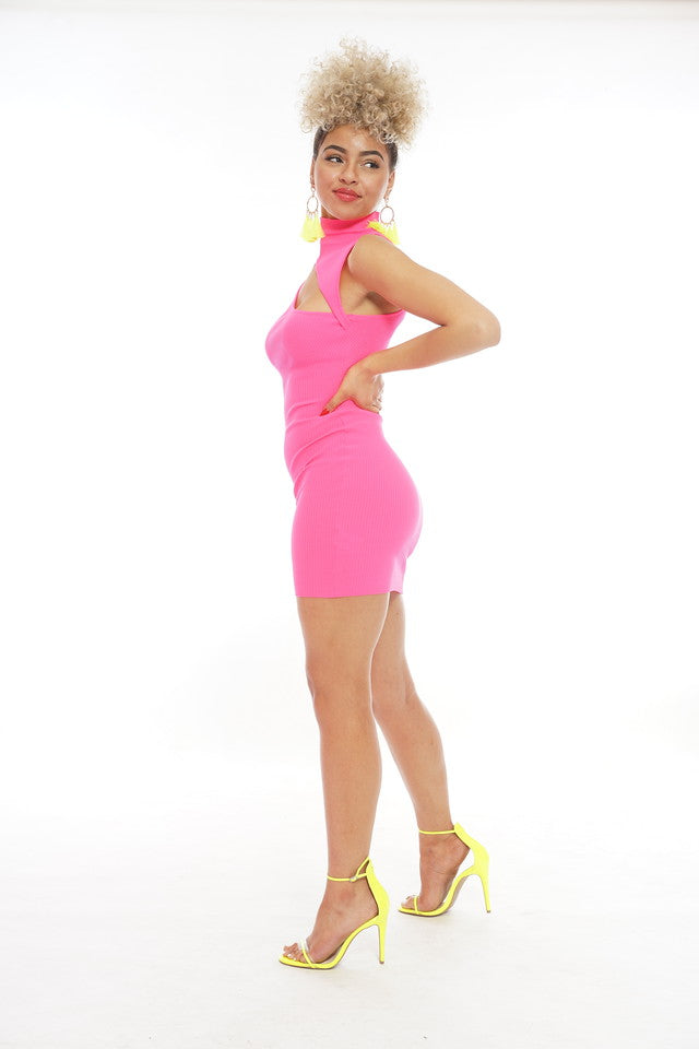 Hot Pink Slit Dress