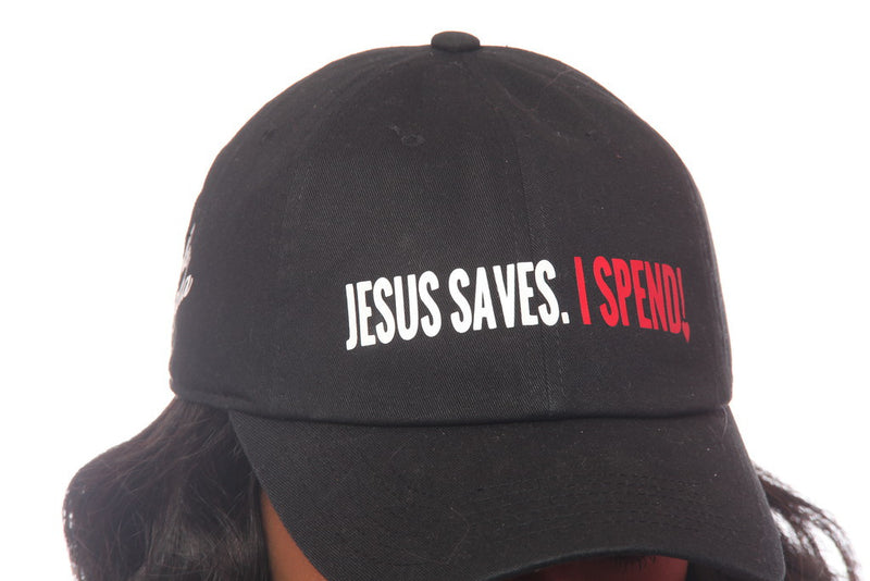 JESUS SAVES I SPEND BLACK HAT