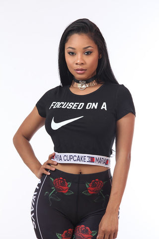 Focused on a Check Crop Top -Black