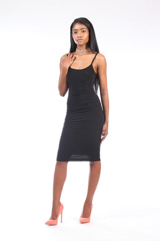 Black Spaghetti Strap Slip Dress