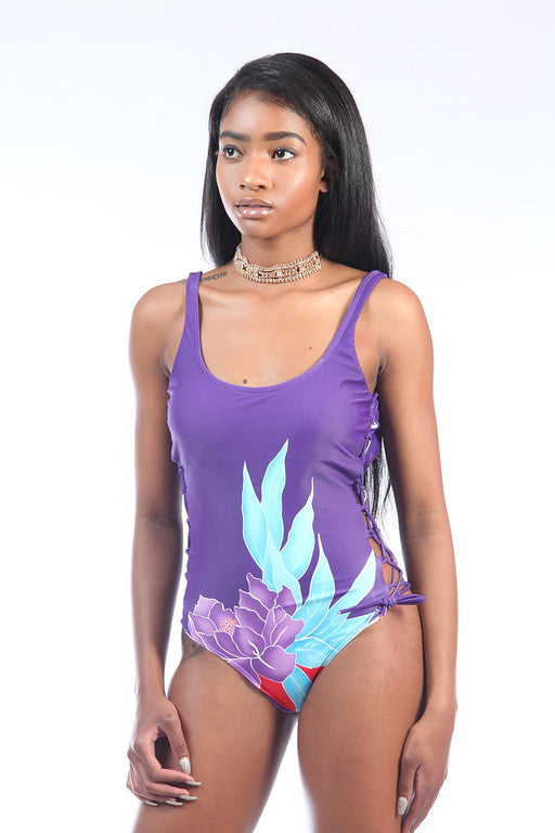 Purple Flower Lace Up Swimsuit