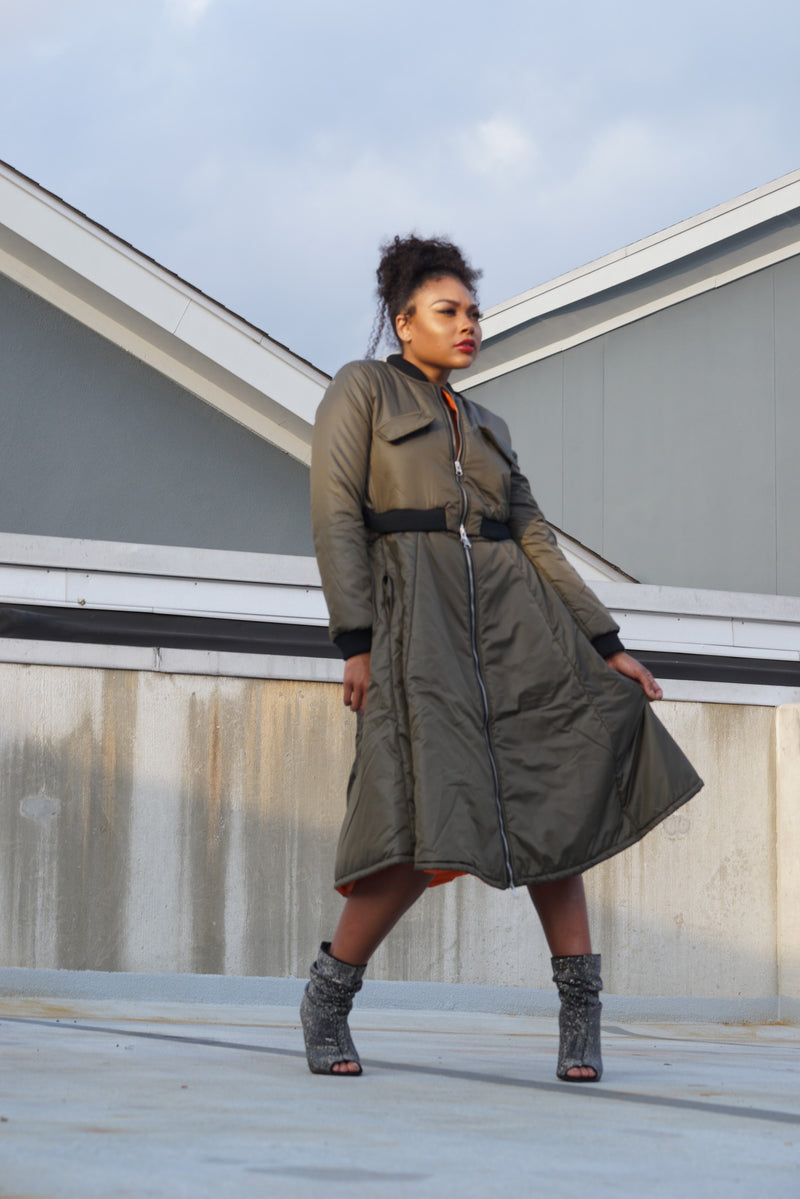 TRENDING OLIVE LONG BOMBER JACKET