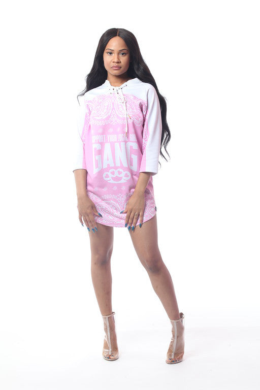 CM GIRL GANG PINK HOCKEY JERSEY DRESS