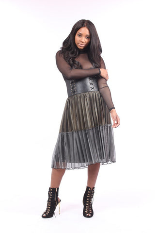 Tina Gold/Silver Pleated Skirt