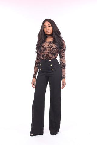 Kendra Wide Leg Button Pants