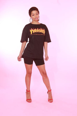 THRASHER FIRE BLACK OVERSIZED TSHIRT
