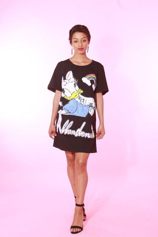 MISS DAISY DUCK BLACK OVERSIZED TSHIRT