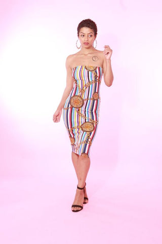 BIG CHAIN STRIPPED TUBE DRESS