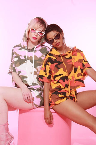 GIRLIE CAMO SHORTS CROP TOP 2 PIECE SET
