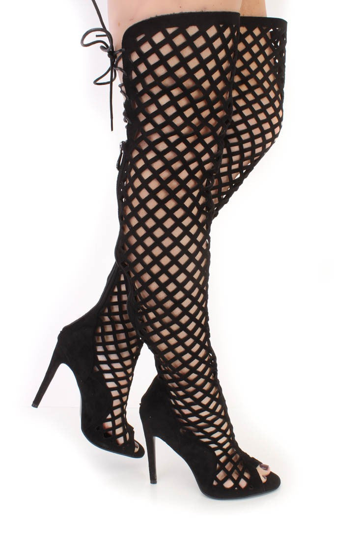 CAGED KIM THIGH HIGH BOOTS