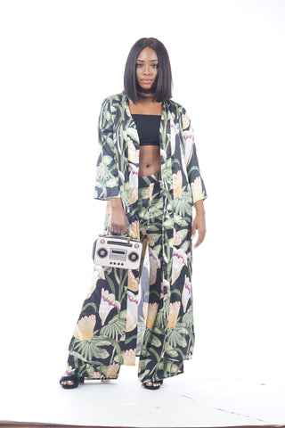 Olive Floral 2 Piece Satin Set