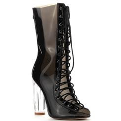 Transparent Lace Up Bootie