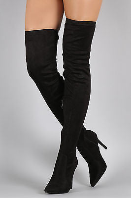 Black Suede Thigh High