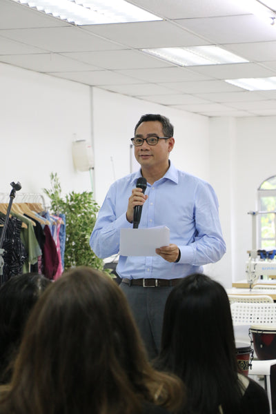 Ekuinas Senior Director speaks at Batik Boutique sewing centre launch