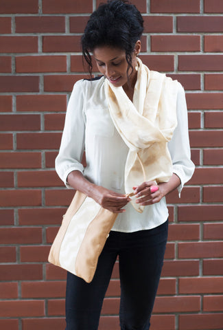 Modeling Tumeric Scarf and 3-way Clutch from the Batik Boutique's new Eco Collection